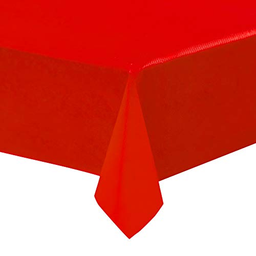 Red Plastic Tablecloths - 12-Pack, 54 x 108 Inches Table Cloths, Rectangular Disposable Table Covers, Fits up to 8-Foot Long, Buffet Banquets or Long Picnic Tables, Party Decoration Supplies, 4.5 x 9]()