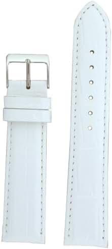 Watch Band White Genuine Leather Crocodile Grain 18 millimeter Tech Swiss