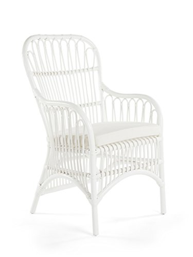 Kouboo Rattan Loop Armchair with Seat Cushion, White, Set of 2 (Loop White High Chair)