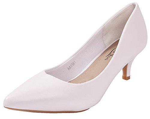 AgeeMi Shoes Damen Spitz Schließen Zehe PU Rein Stiletto High Heels Pumps Weiß (EuD86)