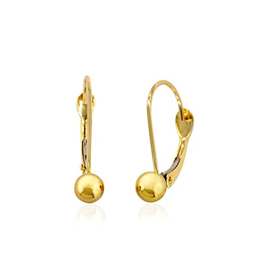 10k Yellow Gold 4mm Small Fixed Ball Leverback Earrings 10k Leverback Earrings