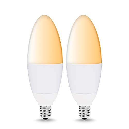 LOHAS E12 Candelabra Base Smart Bulbs, Tunable White Dimmable LED 40W Equivalent Light Bulb, 2000K-6500K LED Bulb Candle Lamps, Decorative Lighting Compatible with Alexa Assistant Siri IFTTT, 2 Pack