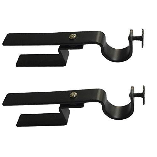 NONO Bracket - Inside Mount Blinds Curtain Rod Bracket Attachment w/Non-Slip Strip (Set of 2) (Black) (Rod Attachment)