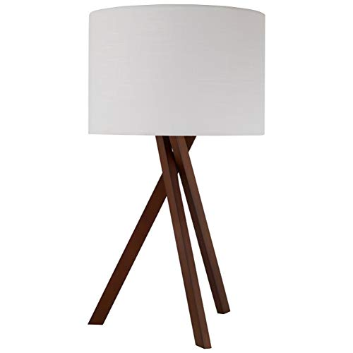 (Rivet Atlas Mid Century Modern Wood Tripod Table Desk Lamp With Light Bulb - 27 x 15 x 15 Inches, White Shade And Walnut Finish)
