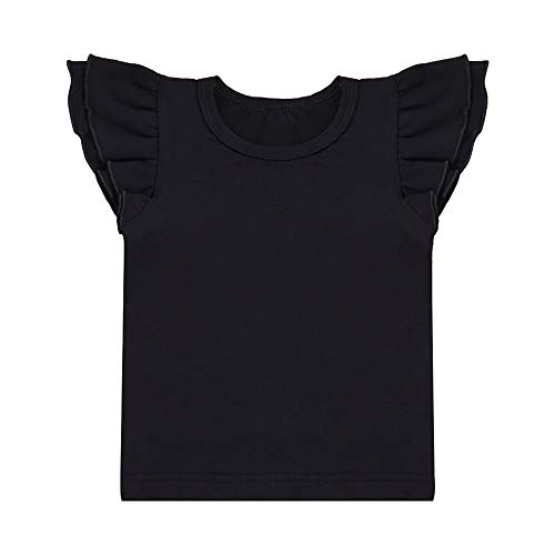 (Infant Toddler Baby Girl 2 3 T Top Basic Black Plain Ruffle Tee Short Sleeve T-Shirts Blouse Clothes 2-3T )