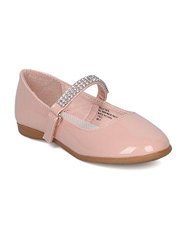 Patent Leatherette Round Toe Rhinestone Mary Jane Ballerina Flat (Toddler/Little Girl) CA04 - Blush Patent (Size: Toddler ()