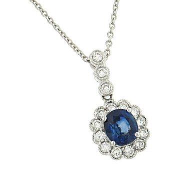 d1c9bb12506 Amazon.com: Classique Creations Sapphire & Diamond Necklace: Chain ...