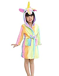 ShiyiUP Soft Bathrobe Unicorn Fleece Sleepwear Loungewear