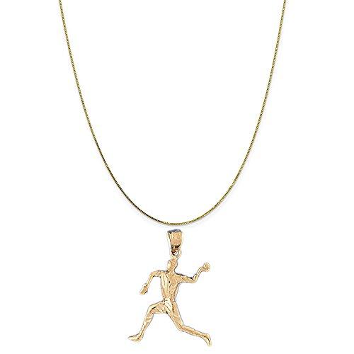 14k Baseball Player Charm - 14k Yellow Gold Baseball Player Pendant on a 14K Yellow Gold Box Chain Necklace, 20