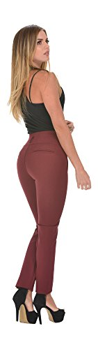 Curvify Stretch Butt Lift Casual Pants | Burgundy Shaping Work Pants – Night Out