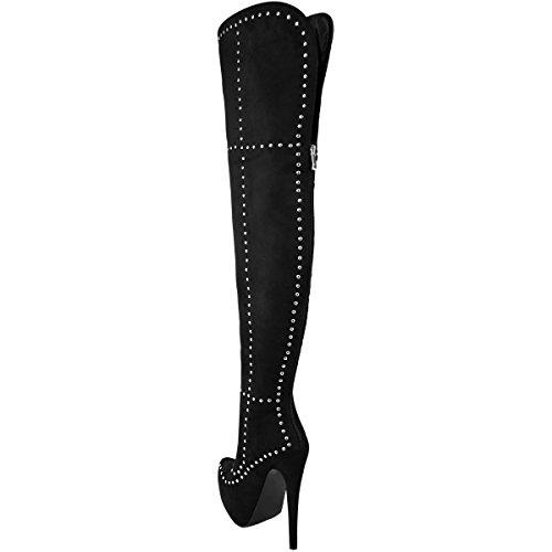 Moda Sete Delle Donne Borchiate Piattaforma Sexy Stivali Alti Alla Coscia Stiletto Punk Goth Taglia Nero Faux Suede