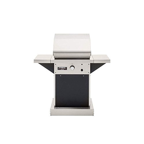TEC Patio 1 FR Infrared Grill on Black Pedestal Two Side Shelves (PFR1-NTPEDB-PFRSS-2), Natural Gas - Pedestal Natural Gas Grills