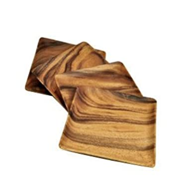 Pacific Merchants Acaciaware 10-Inch Acacia Wood Square Serving Tray, set of 4