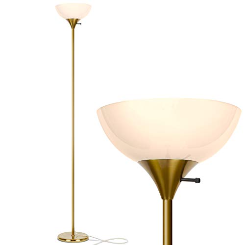 Brightech Sky Dome - Very Bright LED Torchiere Floor Lamp for Living Rooms & Offices– Dimmable Modern Standing Lamp – Tall Pole Light for Bedrooms – LED Bulb Included - Brass, Gold