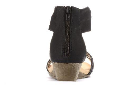 Alexis Leroy Women Fashion Wedge Heel Bright Color Rhinestone Pattern Sandals Black Z1n93