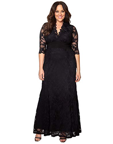 Kiyonna Women's Plus Size Screen Siren Lace Gown 4x Onyx
