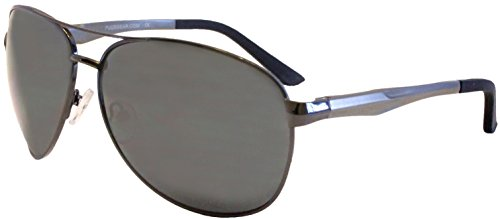 Premium Aviator Sunglasses by Pugs - with Classic Retro Styling and UV 400 Protection (Shiny Gunmetal, - With Pug Sunglasses