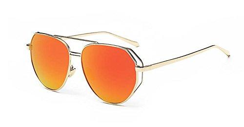 rond vintage inspirées Comprimés Orange lunettes métallique Rouge polarisées de du Lennon style cercle soleil retro en qw7BTx4