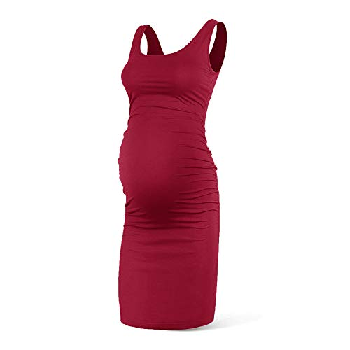 Women Summer Sleeveless Maternity Dress Pregancy Tank Scoop Neck Mama Clothes Casual Bodycon - Clothes Fashionable Maternity