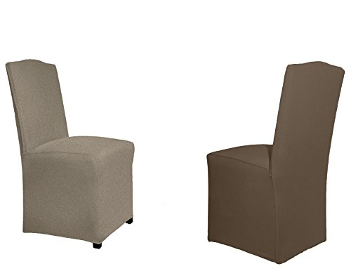 Serta Reversible Stretch Dining Chair, Long Skirt (6 Pack), Chocolate Herringbone/Solid, 6 ()