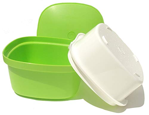 Tupperware Microwave Multi Server Steamer Square Veggie Rice Green and White