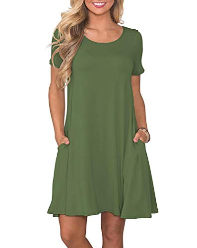 WNEEDU Women's Summer Casual T Shirt Dresses Short Sleeve Swing Dress with Pockets (XL, Army Green)