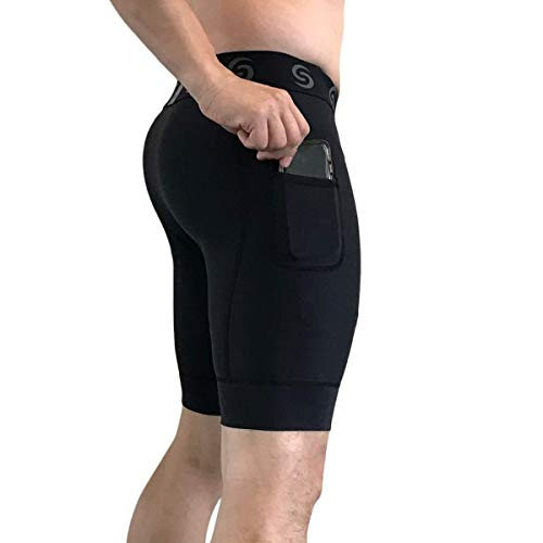 Performance Shorts Compression Tights for Men - Base Layer Tights for Running, Training, Weightlifting Workout Shorts with Pockets Workout Leggings for Men (Large) Black