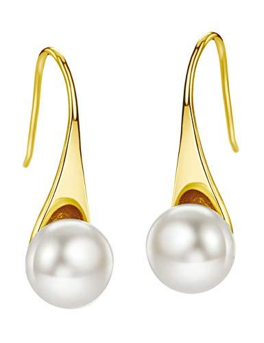 Jewelry Gold Earrings All Fine - Freshwater Pearl Earrings Dangle Drop Sterling Silver Earrings 8mm Natural Pearl Fine Jewelry for Women (Gold)