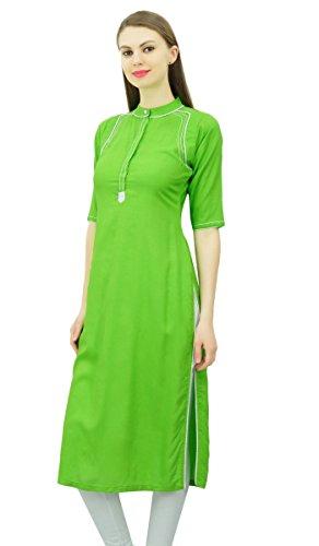 Señoras Mujer De Del Collar Kurta India Túnica Rayón Lima Mandarín Tapa Verde Phagun Kurti La Para Étnica Bq7wSX