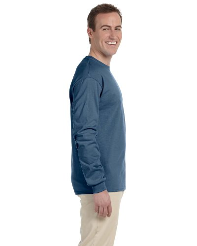 Indigo Ribbed Sweater (Gildan Adult L/S T-Shirt in Indigo - Medium)