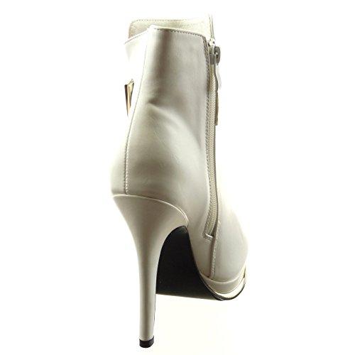 Sopily - Zapatillas de Moda Botines zapatillas de plataforma Tobillo mujer Hebilla metálico cremallera Talón Tacón ancho alto 12.5 CM - plantilla sintética - forradas en piel - Blanco