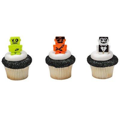 Halloween Party Scarybots Robot Cupcake Rings - 24 (Cake Walk Game Halloween)