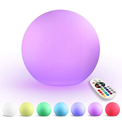 LED Ball Light, 5.9-Inch Rechargeable Color Changing Lighting Remote Control Waterproof Ball Lights Indoor Outdoor Lighting for Home Garden Decoration by Andota