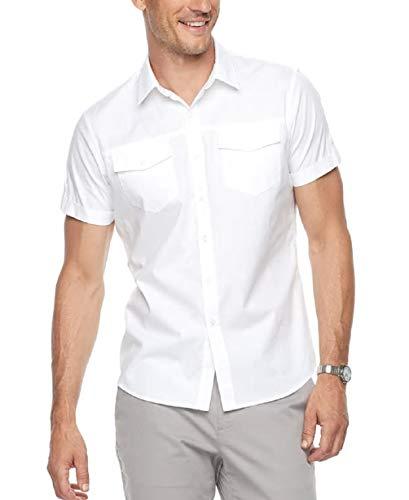 Apt 9 Men's Premier Flex Slim-Fit Stretch Short Sleeve Button-Down Shirt (New White, Medium) from Apt 9