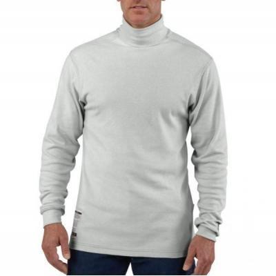 - Carhartt Flame-Resistant Long Sleeve Mock Turtleneck Shirt, Light Gray, XXX-Large