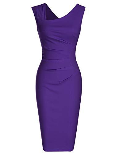 MUXXN Women's Cut Out Neck Ruched Waist Purple Bridesmaid Dress (L Purple)