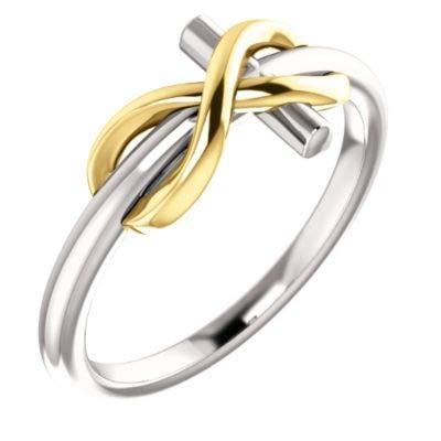 JewelryWeb Anillo de Cruz de 14 Quilates, Oro Blanco y Oro Amarillo Pulido, Inspirado