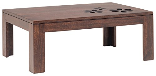 India Covers Cut Flower Solid Wood Coffee Table (Honey Brown Finish, Brown)