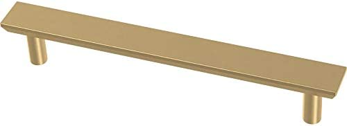Franklin Brass P40846K-117-C Simple Chamfered Kitchen or Furniture Cabinet Hardware Drawer Handle Pull, 5-1 16-Inch 128mm , Brushed Brass, 10-Pack