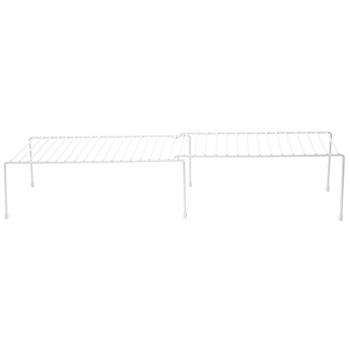 Expandable Kitchen Counter and Cabinet Shelf, White(adjustable From16 .3/4 to 30.3/4 length X 8.1/4 width X 6 height)