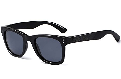 CAXMAN New Wayfarer Sunglasses TR90 Unbreakable Lightweight Frame for Men Women, 100% UV Protection, Black Frame/Black Lens, - Outfitters Frames Glasses Urban