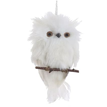 Amazoncom Flat White Feather Owl On Branch Christmas Ornament 6