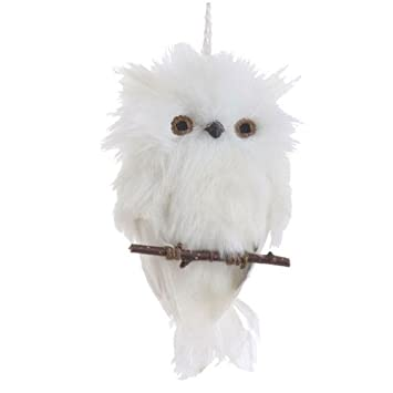 flat white feather owl on branch christmas ornament 6 inches long - Owl Christmas