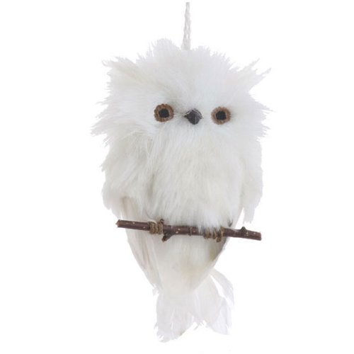 Feather Ornaments Christmas (Flat White Feather Owl on Branch Christmas Ornament, 6 Inches Long)
