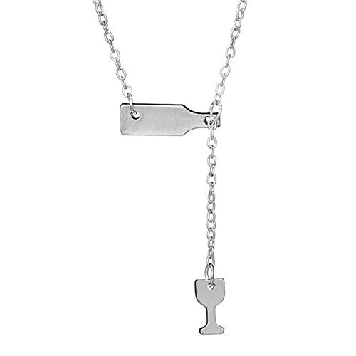kanyankeji Women's Stainless Steel Wine Bottle Beer Cup Y Shaped Necklace Love Wine Cheers Pendant Necklace Adjustable - Journey Curved Diamond Pendant