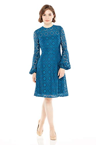 London Times Women's Petite Long Sleeve High Neck Lace Fit & Flare Dress, Harbor Blue, 12P