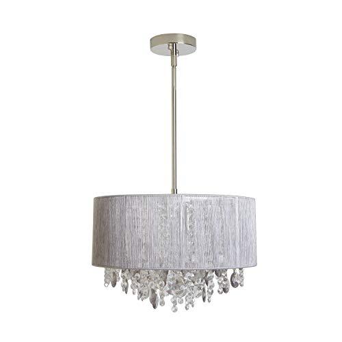 Serra Design Island - Decor Therapy CH1871 Serra String Beaded Pendant Light, 15.74x15.74x6.8, Nickel Smoke