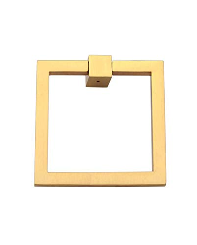 "Solid Brass Square Ring Pull, Sand Casted Hand Finished Ring Pull for Cabinet Doors, Kitchen Drawers and Wardrobes, Modern Design & Sturdy Ring Pull Square 4"" Ideal for Home and Office – Brushed Brass"