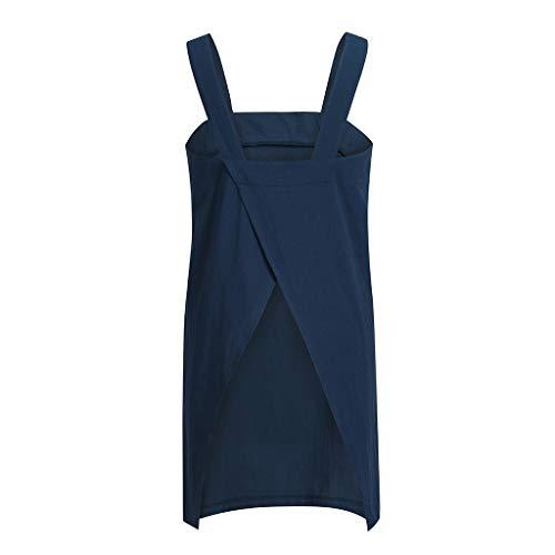 Côté Et De En Tablier Piebo Grande Couleur Coton Travail Poche Bleu Dould Carré Croisé Lin Robe Nouveauté Unie Jardin 4w7qRx