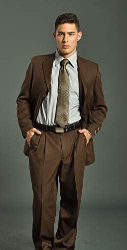 メンズ2ピースチョコレートブラウンスーツスリムフィットジャケット&パンツ